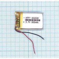 Аккумулятор Li-Pol (батарея) 4*20*30 мм 2pin 3.7V 300 mAh [6208]