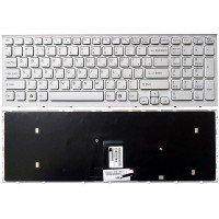 Клавиатура для ноутбука Sony Vaio VPC-EB белая (белая рамка) [10101]