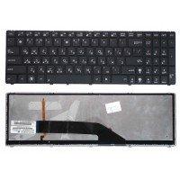 Клавиатура для ноутбука Asus K50, K51, K50AB, K50C, K50IN, K50IJ, K50IN, K60, K61, K62, K70, K70IJ, K72, N51, G70, F52, F52G, F90, X5D, X5DC, X5DIJ, X50IJ, X5DIN, X70 (RU) черная, с рамкой + подсветкой [00400]