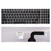 Клавиатура для ноутбука Asus K52 UL50 черная с серебристой рамкой