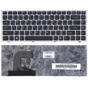 Клавиатура для ноутбука Sony Vaio VPC-S черная с серебристой рамкой