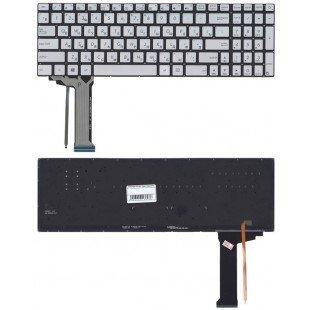 Клавиатура для ноутбука Asus N551 серая с подсветкой