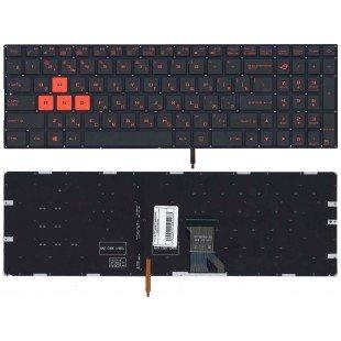 Клавиатура для ноутбука Asus GL702 черная, с подсветкой, с красными кнопками