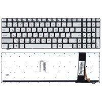 Клавиатура для ноутбука Asus N550, N56, N76, N750, Q550 серебристая с подсветкой