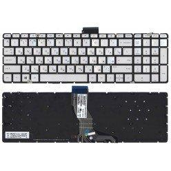Клавиатура для ноутбука HP Pavilion 15-AB, 15-BS, 15-RA, 17-AB, 17-BS, 17-G серебристая, с подсветкой, без рамки [9154]