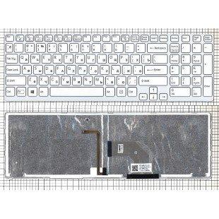 Клавиатура для ноутбука Sony Vaio SVE17 белая рамка с подсветкой