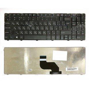 Клавиатура для ноутбука DNS 0151280, 0151831, 0153300, 0153733 (RU) черная, с ЧЕРНОЙ РАМКОЙ