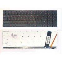 Клавиатура для ноутбука Asus N56, N56V, N76, N550, N750, Q550 черная, красные буквы, с подсветкой [10245]