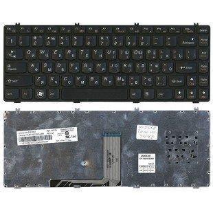 Клавиатура для ноутбука Lenovo Y470 черная (RU) с черной рамкой