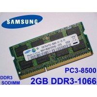 *Б/У* Оперативная память SODIMM 2Gb (1066MHz) DDR3 Samsung M471B5673FH0-CF8 2R*8 PC3-8500S-07-10-F2 [BUR0055-17], с разбора