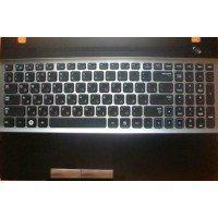 Клавиатура (топ-панель) для ноутбука Samsung NP300V5A, NP305V5A, NP300 V5A (RU), черная с серебром [10093]