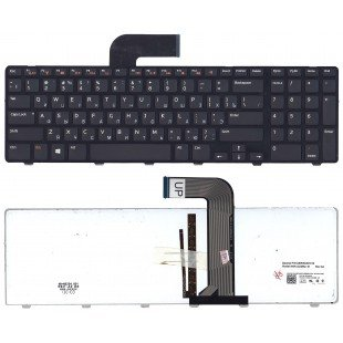 Клавиатура для ноутбука Dell Inspiron 17R N7110 (RU) черная с черной рамкой с подсветкой