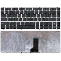Клавиатура для ноутбука Asus UL30, U30, U31, K42, K43, N43, N82, X42, X43, X44, A84  (RU) черная с серебристой рамкой [10157]