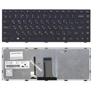 Клавиатура для ноутбука Lenovo Flex 14 G40-30 G40-70 (RU) черная с черной рамкой с подсветкой