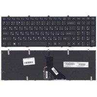 Клавиатура для ноутбука DNS Clevo W350 w370 черная (RU) c рамкой (плоский ENTER) с подсветкой
