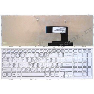 Клавиатура для ноутбука Sony Vaio VPC-EL (RU) белая, белая рамка [10102]