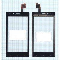 Сенсорное стекло (тачскрин) Sony Xperia J черное