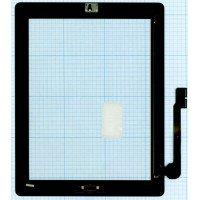 Сенсорное стекло (тачскрин) iPad 3 черное с кнопкой