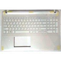 Клавиатура для ноутбука Sony FIT 15 SVF15 (RU) серебристая топ-панель, без подсветки [10214]
