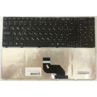 Клавиатура для ноутбука DNS 0151280, 0151831, 0153300, 0153733 (RU) черная, с ЧЕРНОЙ РАМКОЙ, [10196]