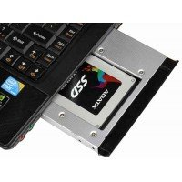 Переходник дополнительного HDD/SSD SATA-III кредл в отсек CD/DVD 12.7 mm, алюминий [HDDROM-12A]