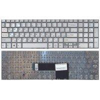 Клавиатура для ноутбука Sony FIT 15 SVF15 серебристая (RU) с подсветкой