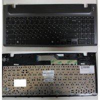 Клавиатура (топ-панель) для ноутбука Samsung 350V5C, 355V5C, NP355V5C, NP355V5C-A01(RU) черная, с серой панелью [10052]