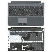 Клавиатура (топ-панель) для ноутбука Samsung RC520 (RU) темно-серая, с серой панелью